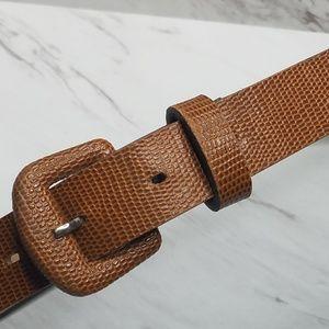 Vintage Tan Grain Leather Womens Belt